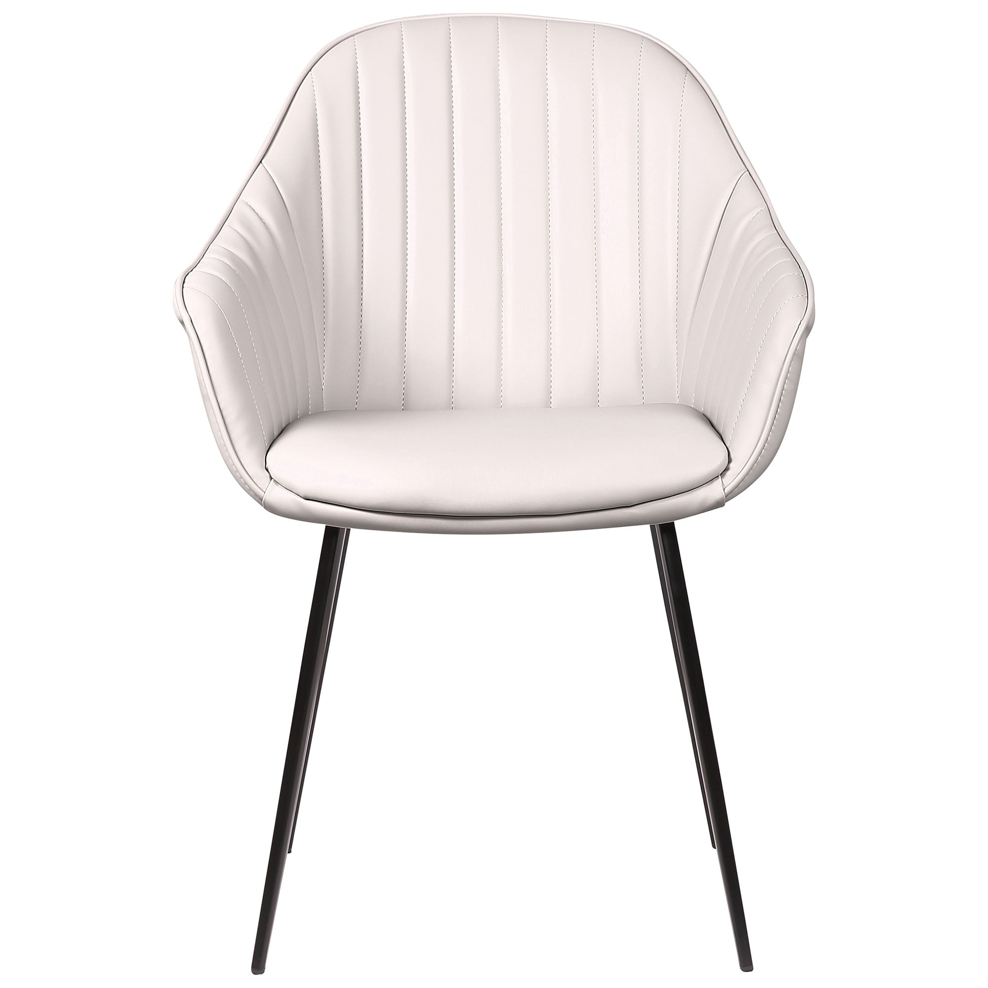 Eford Commercial Grade Faux Leather Dining Chair, Light Grey
