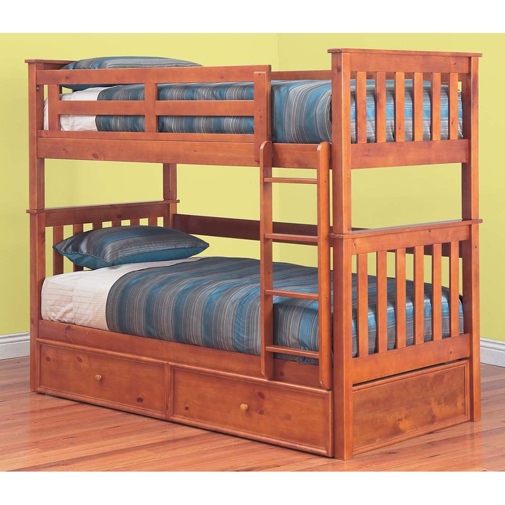 Forte Solid Pine Timber Single Bunk Bed with Trundle - Teak Stain
