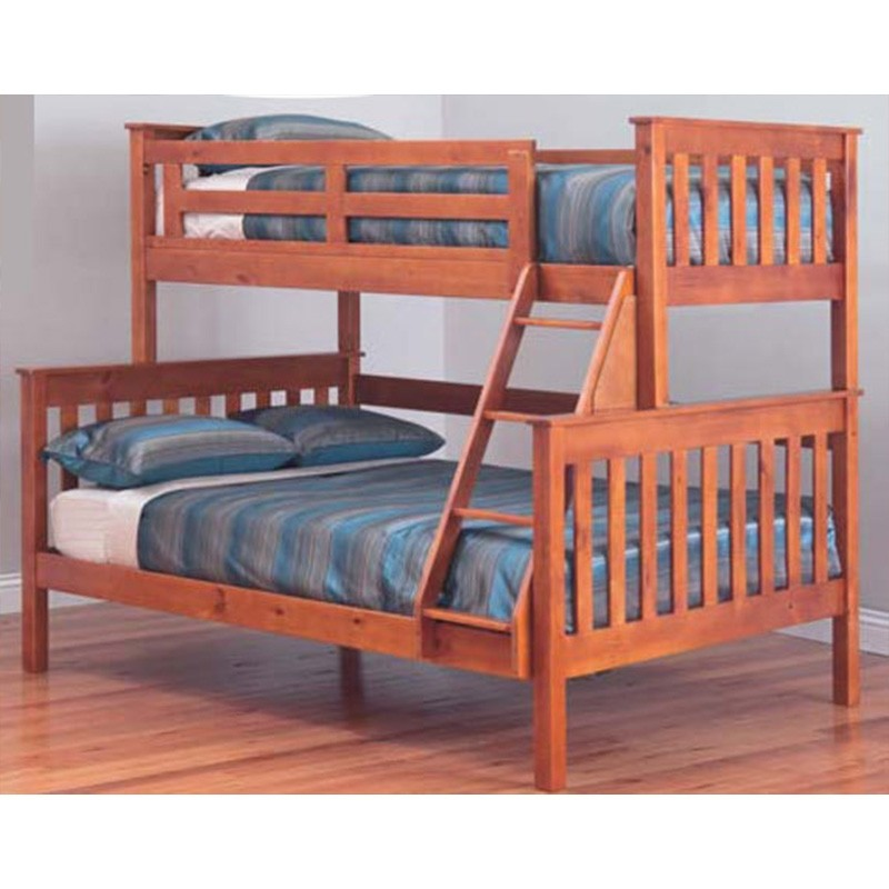 Forte Solid Pine Timber Trio Bunk Bed - Teak Stain