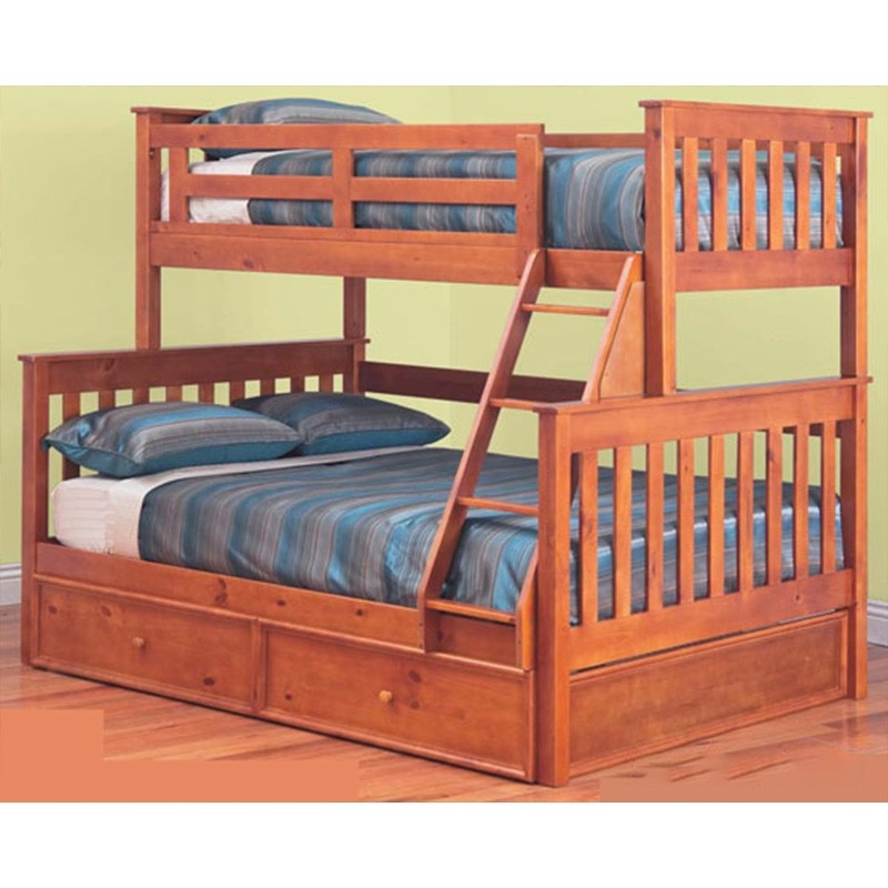 Forte Solid Pine Timber Trio Bunk Bed with Trundle - Teak Stain