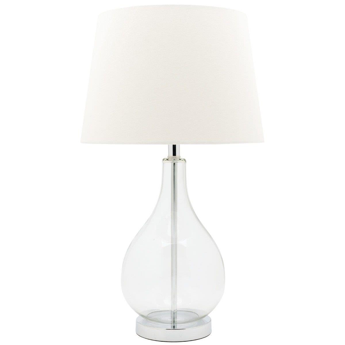 Gina Glass Base Table Lamp - White