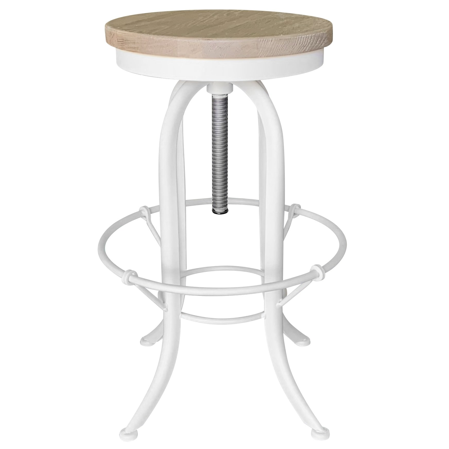 Andrew Timber Seat Iron Counter Stool, White