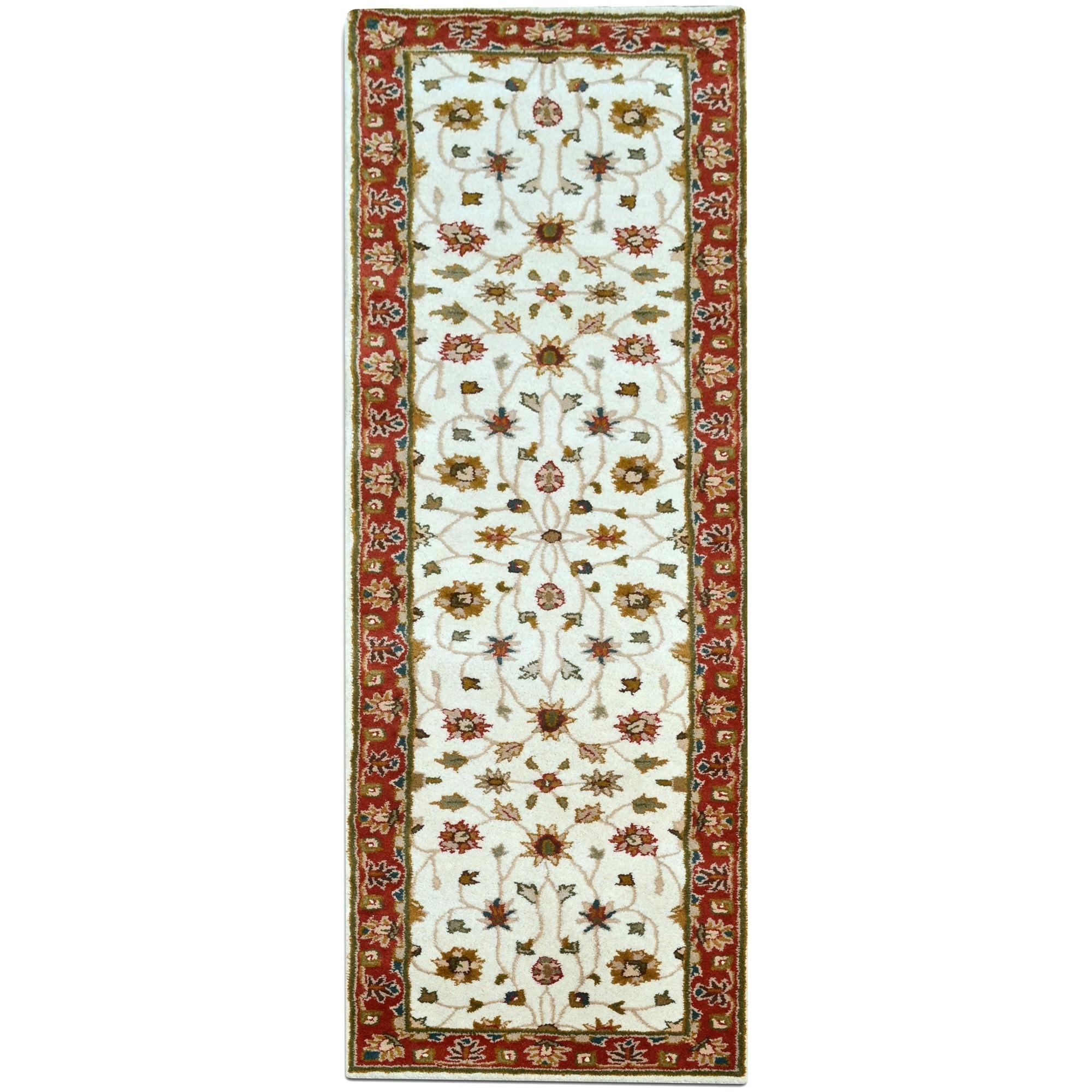 Kashan Oriental Wool Runner Rug, 300x80cm, Cream