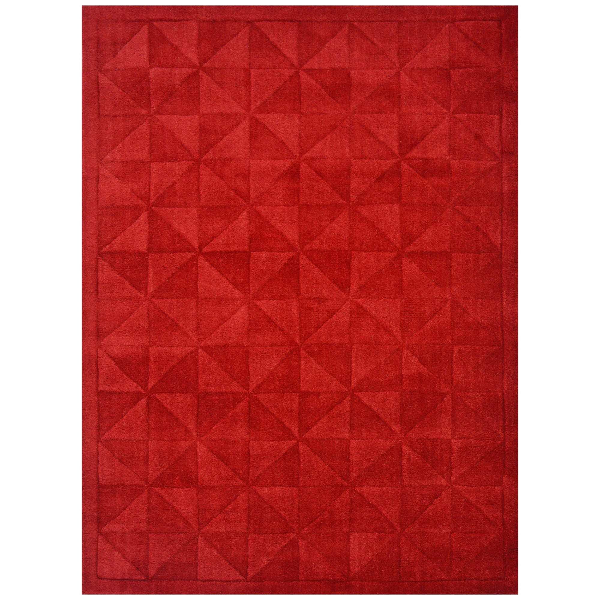 Caberston Modern Wool Rug, 160x110cm, Red