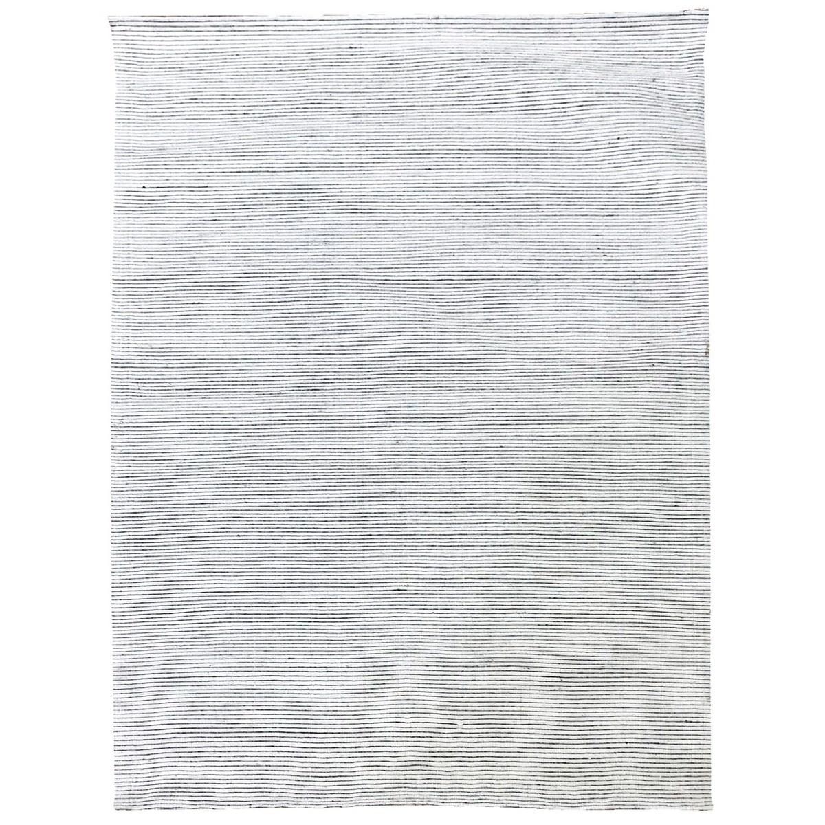 Ridges Handwoven Wool Rug, 230x160cm, Ivory