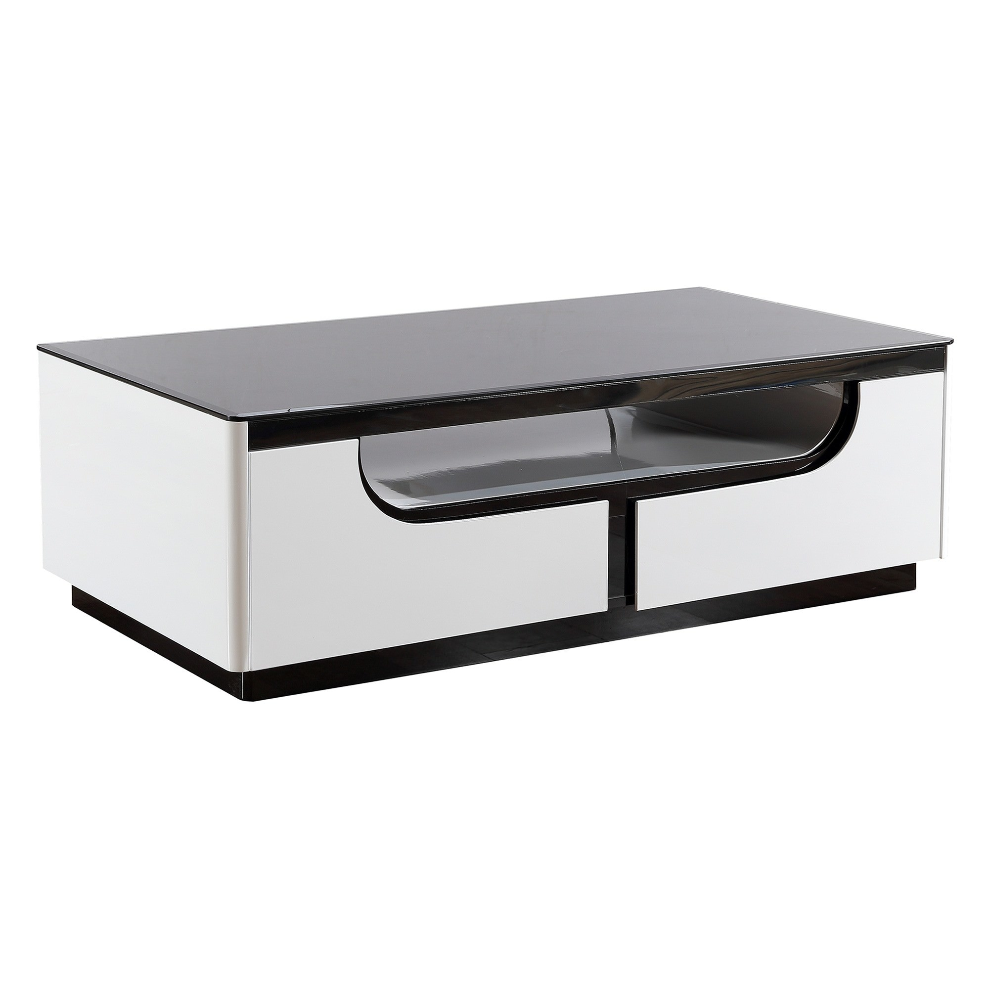 Roche Glass Topped Coffee Table, 120cm, Glossy White