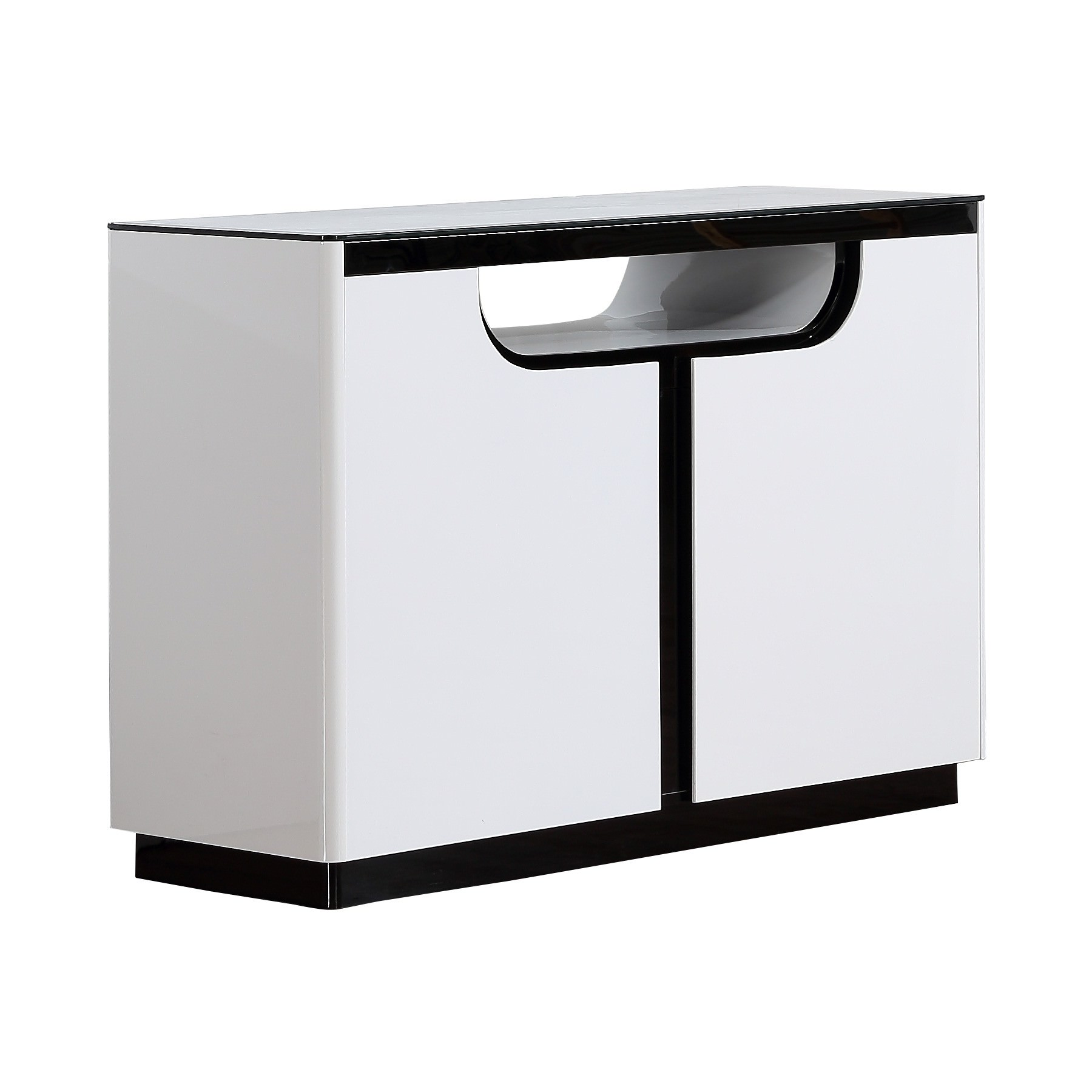 Roche Glass Topped 2 Door Buffet Table, 120cm, Glossy White