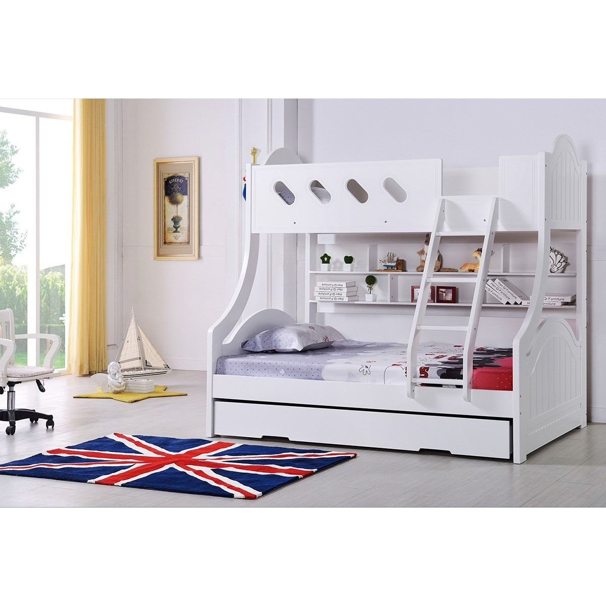 Cloudy Trio Bunk Bed with Single Trundle - White