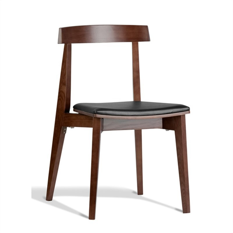 Ito Commercial Grade Solid Timber Dining Chair with PU Seat,  Walnut / Black