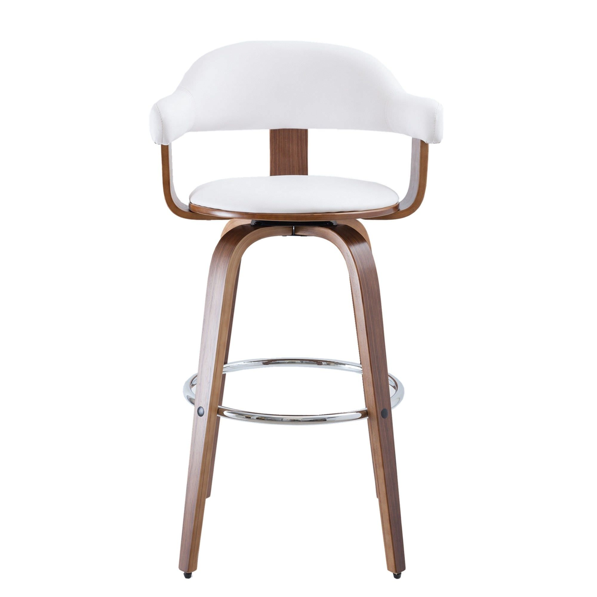 Millan Bentwood Swivel Bar Chair, White / Walnut