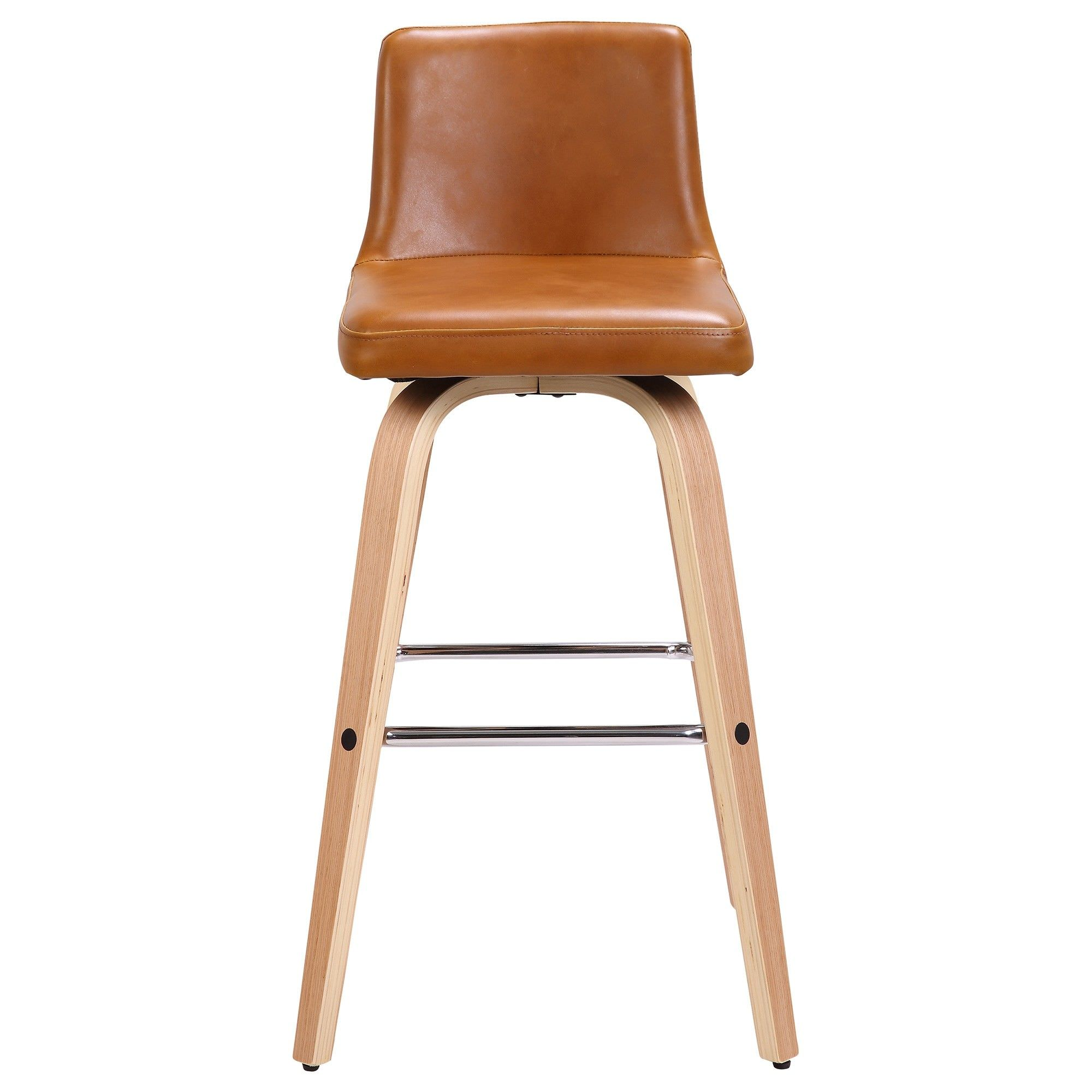 Matera Commercial Grade Bentwood Swivel Bar Chair, Faux Leather Seat, Tan / Oak