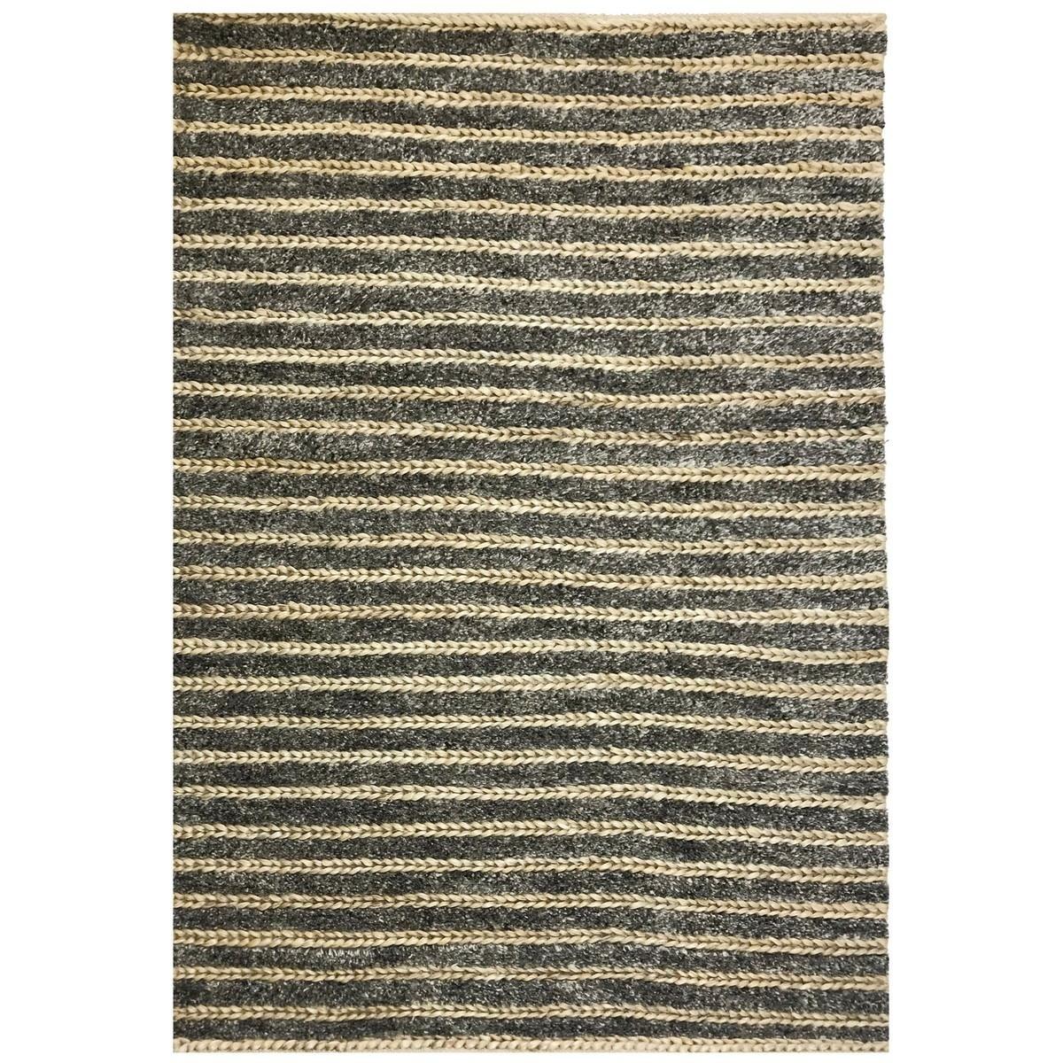 Raikal Handwoven Wool & Jute Rug, 160x110cm, Charcoal / Natural