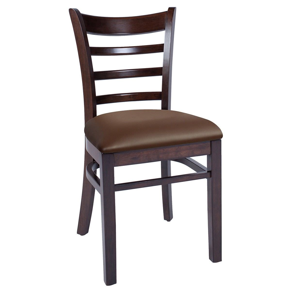 Mustang Commercial Grade Timber Chair with Vinyl Seat - Walnut