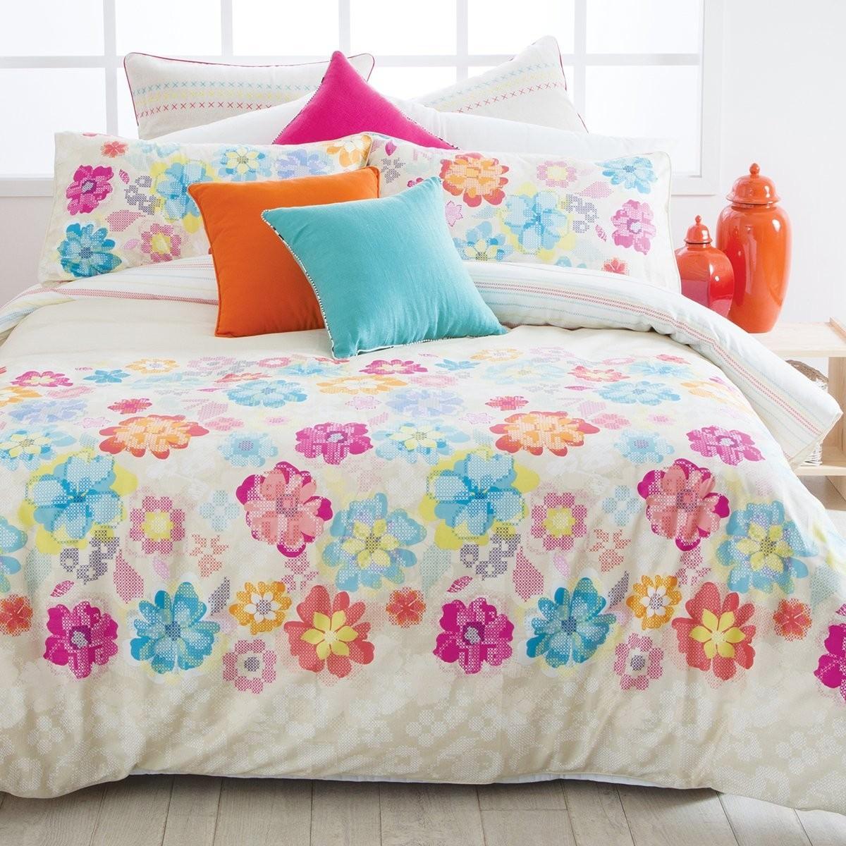 Esprit Cross Stitch Floral Queen Size Reversible Cotton Quilt Cover Set