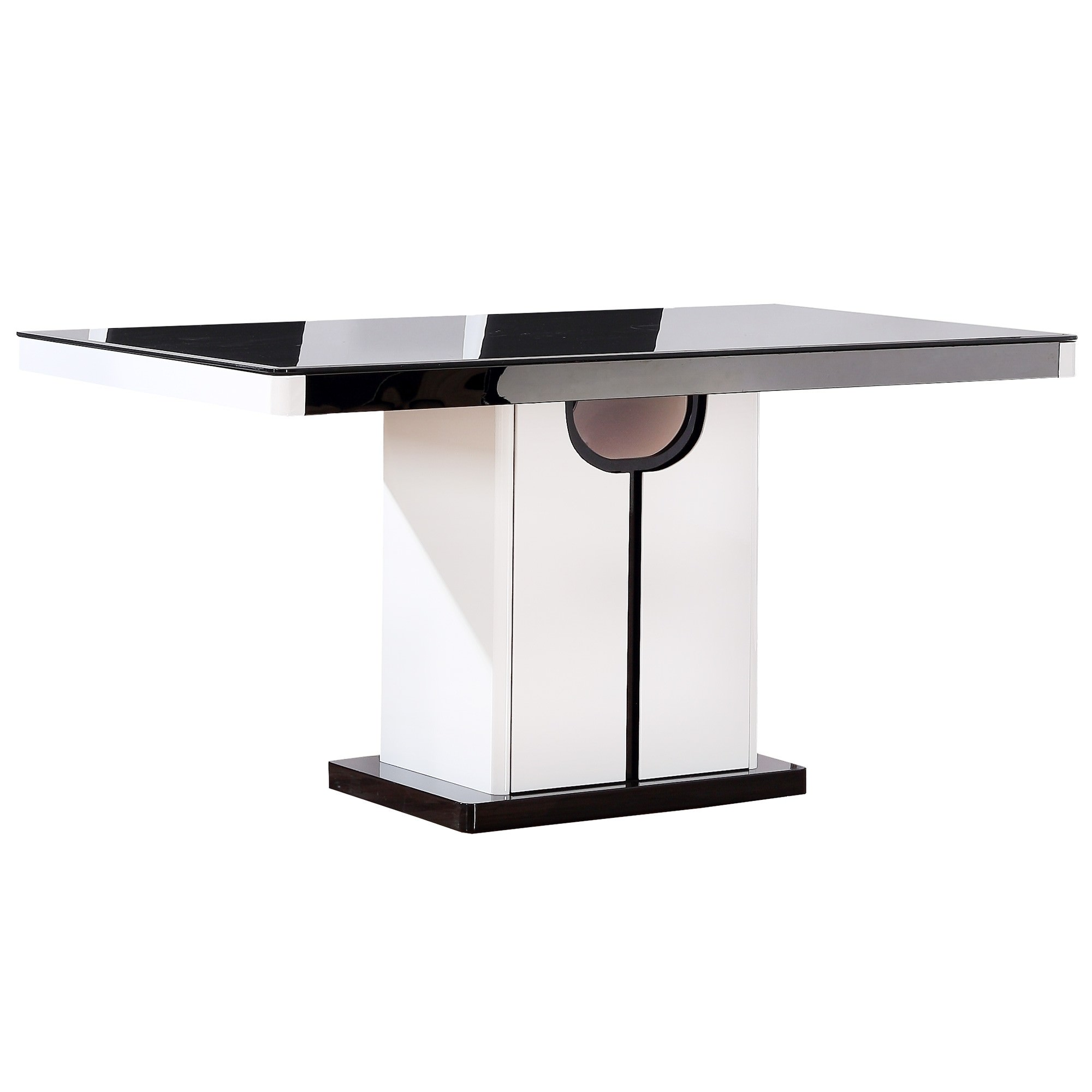 Roche Glass Topped Dining Table, 150cm, Glossy White