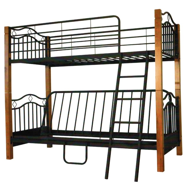 London Timber & Metal  Single Futon Bunk Bed - Black