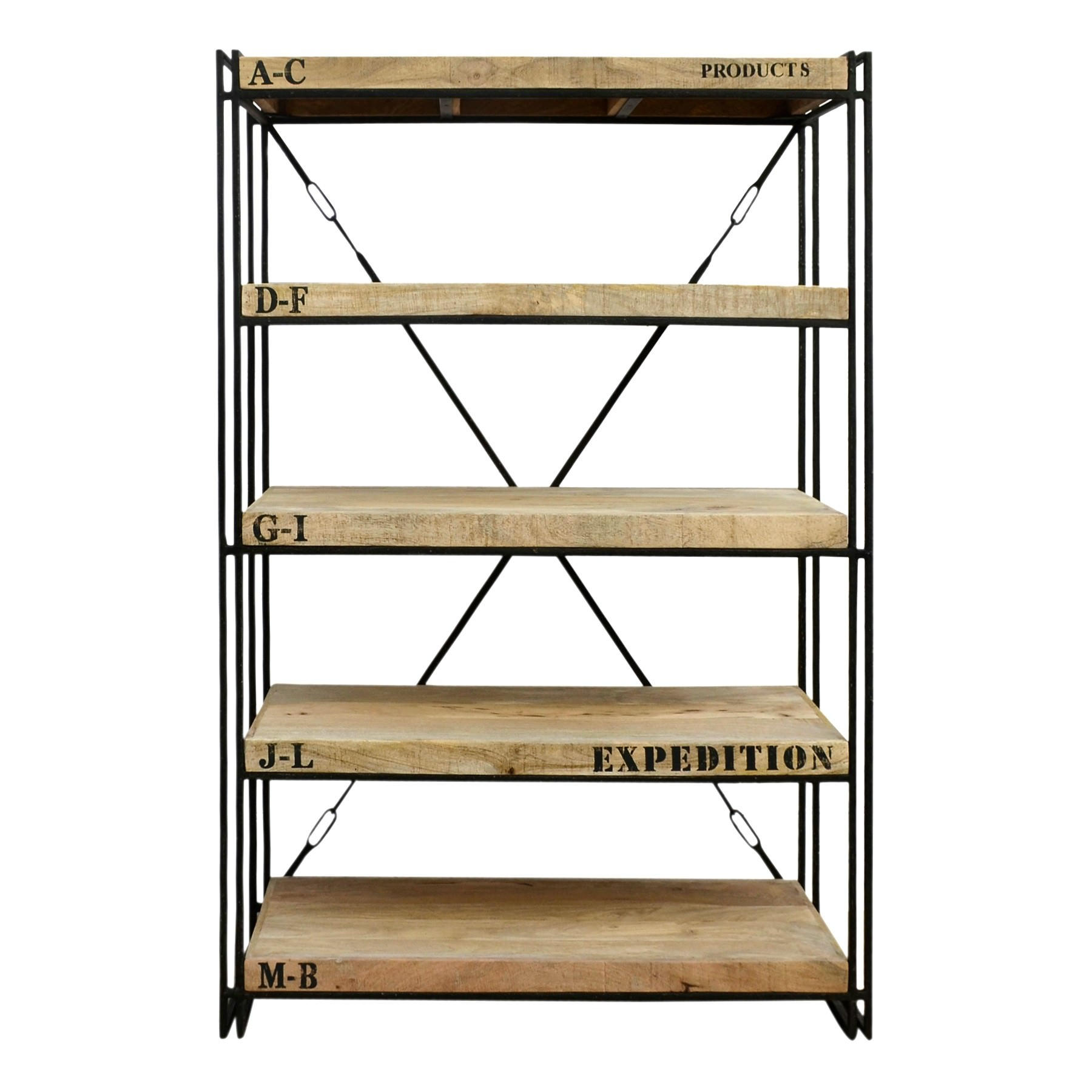 Expedition Industrial Solid Mango Wood Timber & Iron Display Shelf