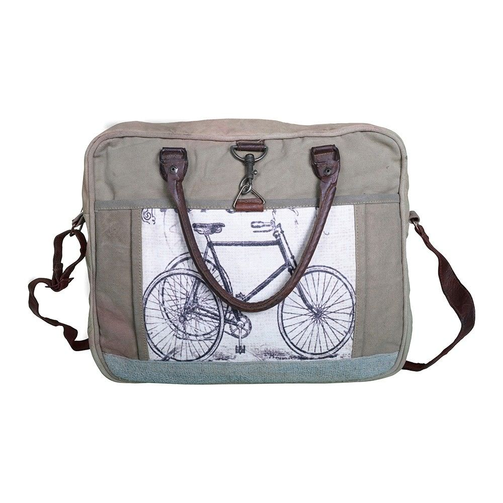 Bicycle Vintage Hand Made Large Canvas Hand Bag - Shoulder Bag