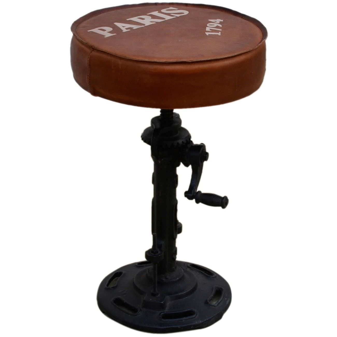 Industrial Paris Wind Up Cast Iron Counter Stool