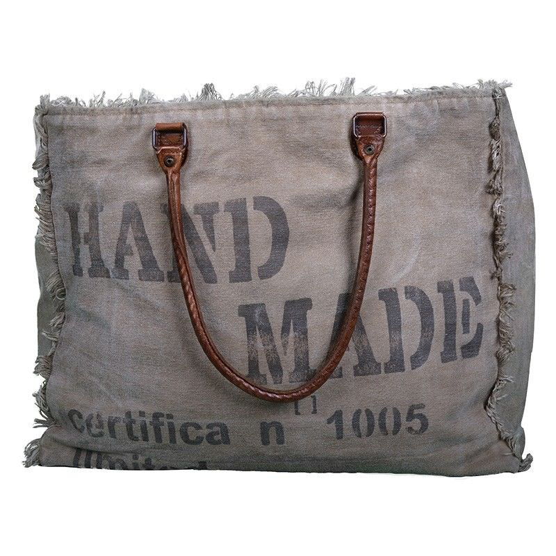 Certifa N 1005 Hand Crafted Canvas Tote Bag with Leather Handles