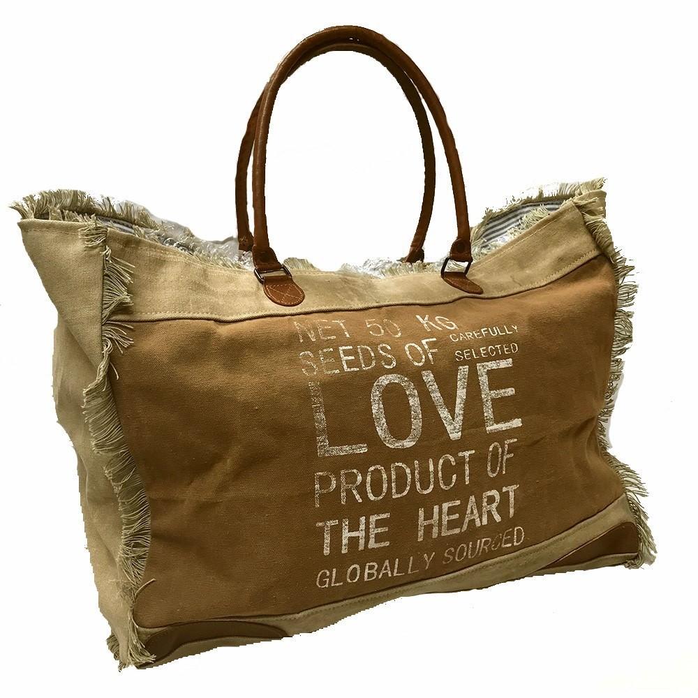 Seeds of Love Handmade Vintage Canvas Tote Bag