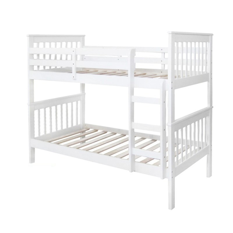 Monza New Zealand Pine Timber Bunk Bed, King Single, White