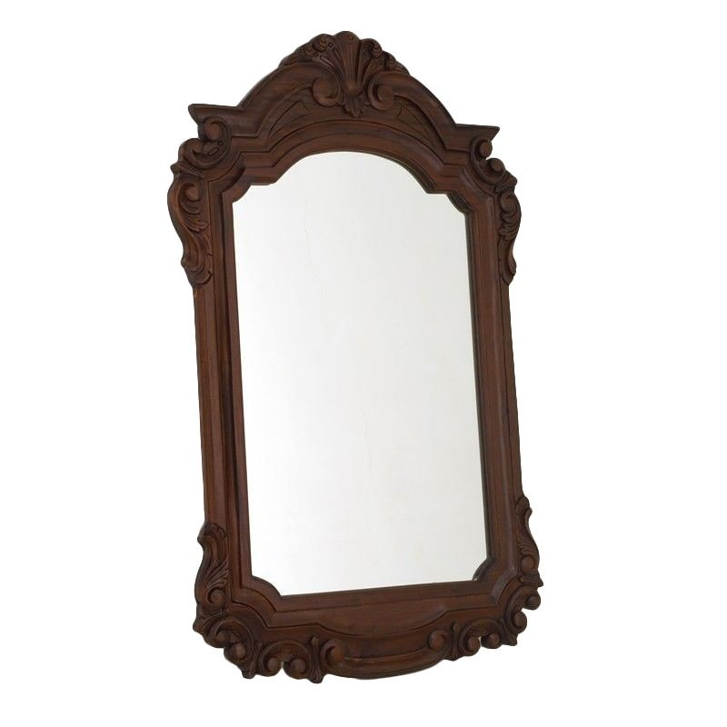 Solid Mahogany Carved Frame Mirror - Chocolate