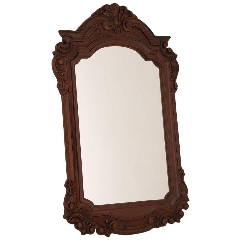 Solid Mahogany Carved Frame Mirror - Mahogany