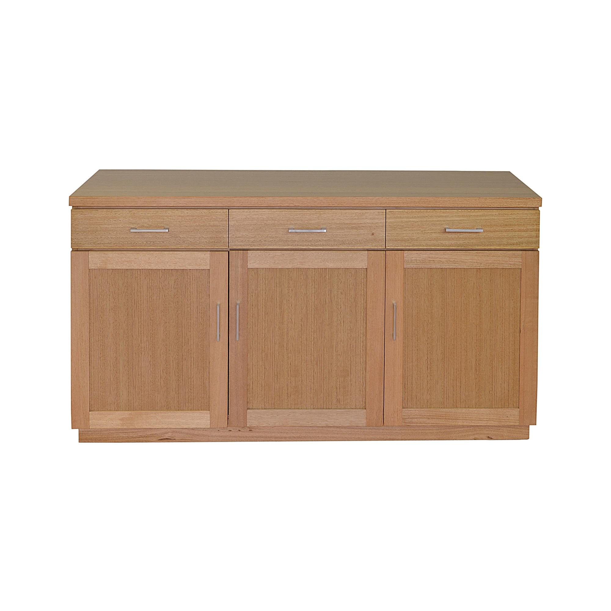 Moselia Tasmanian Oak Timber 3 Door 3 Drawer Buffet Table, 150cm, Wheat