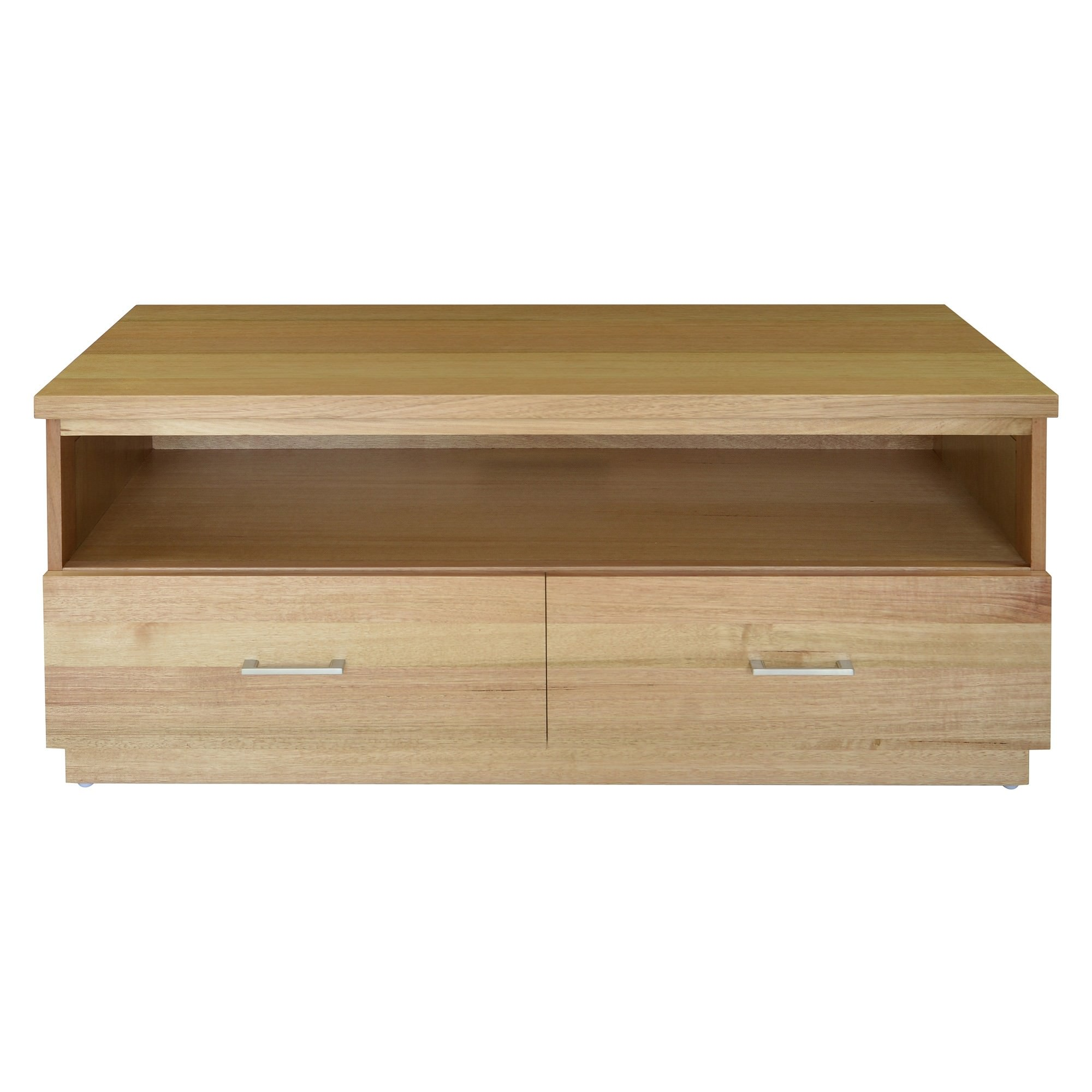 Moselia Tasmanian Oak Timber 2 Drawer TV Unit, 120cm, Wheat