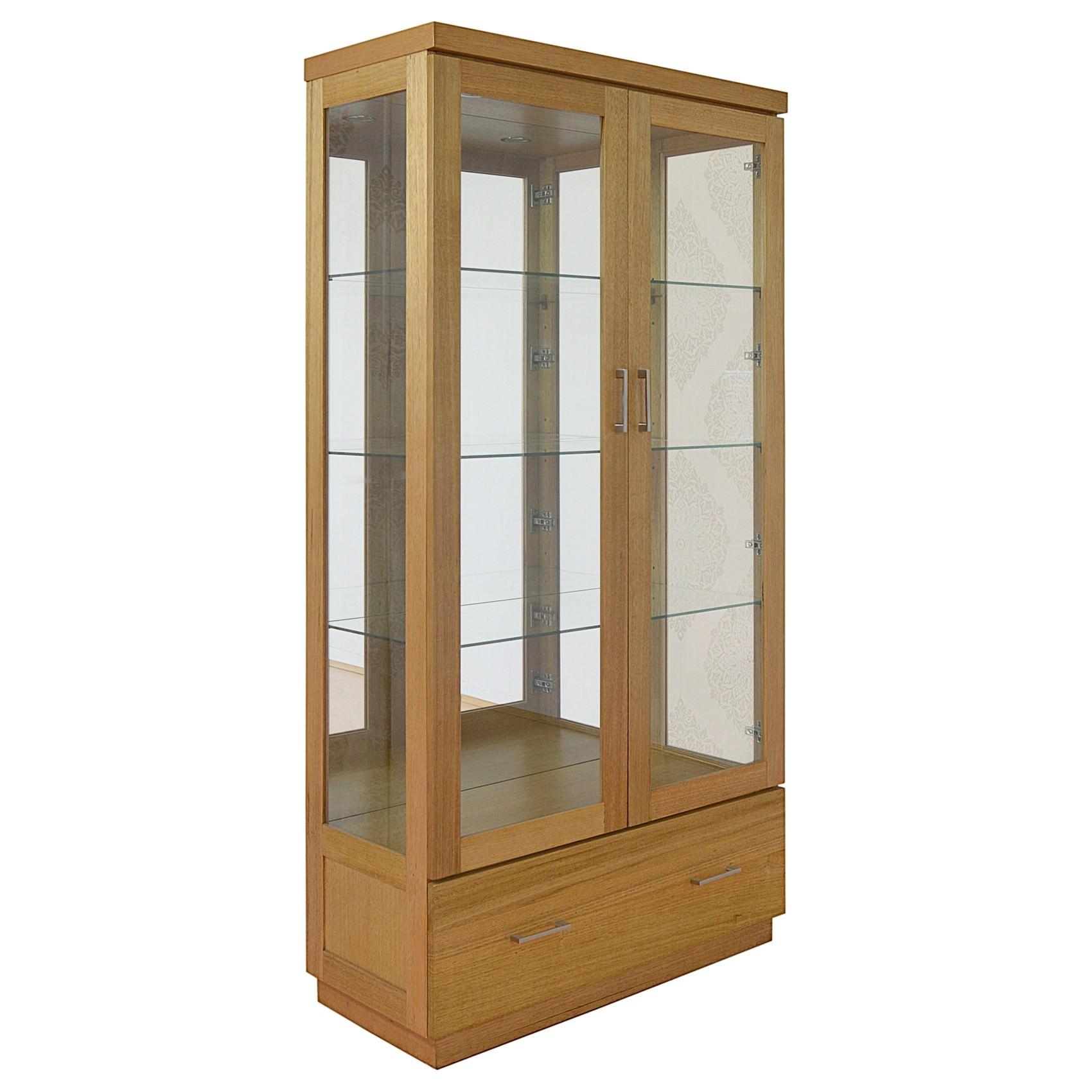 Moselia Tasmanian Oak Timber Display Cabinet, Wheat
