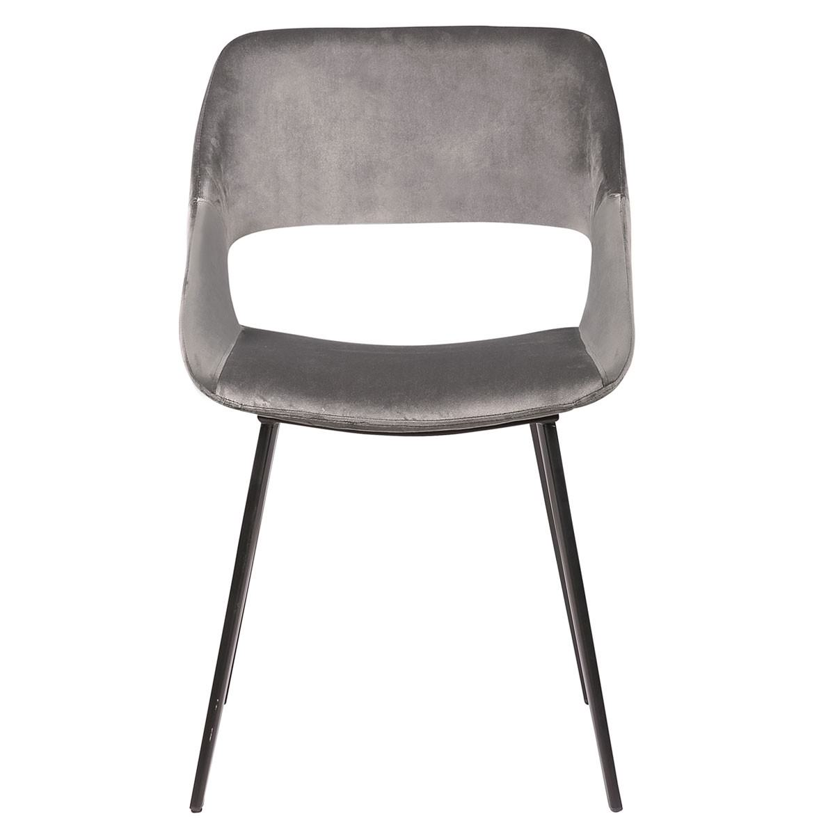 Nancy Commercial Grade Velvet Fabric Dining Chair, Grey