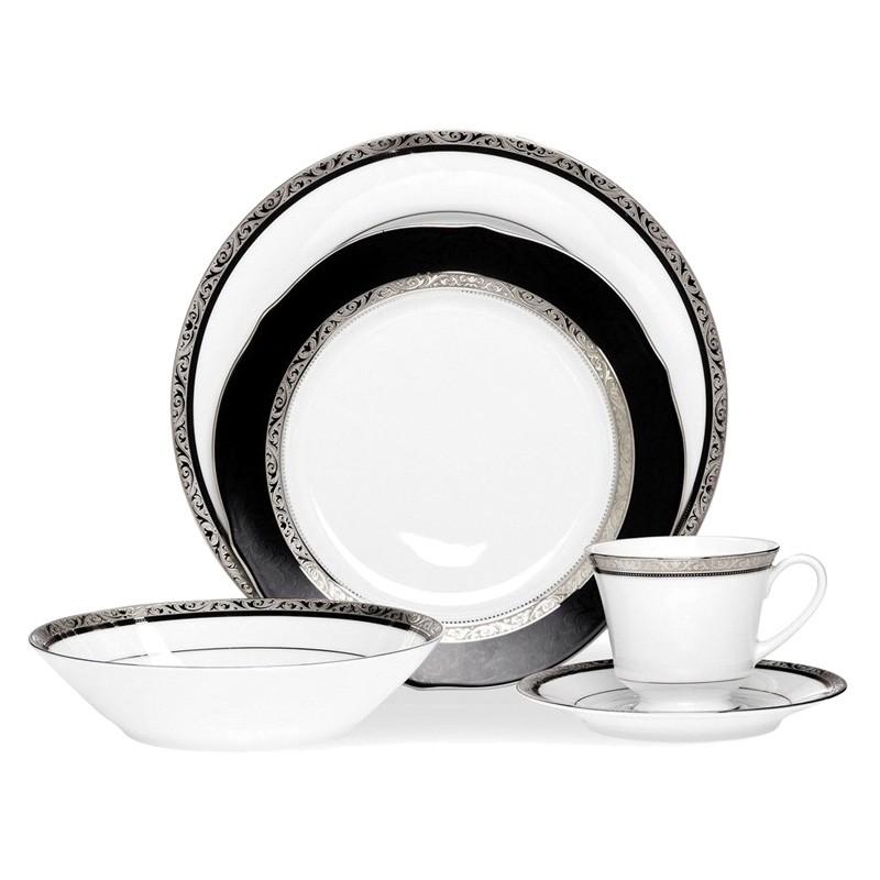 Noritake Regent Platinum Fine China 20 Piece Dinner Set
