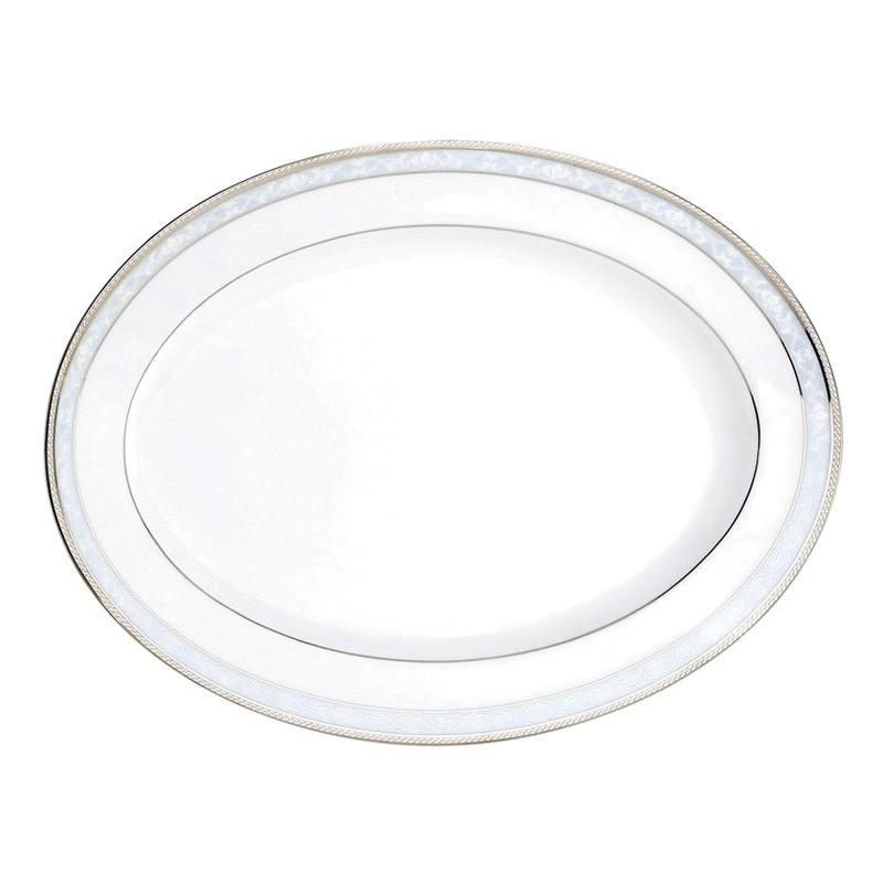 Noritake Hampshire Platinum Fine Porcelain Oval Platter