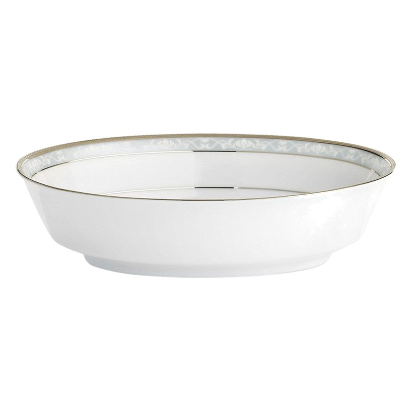 Noritake Hampshire Platinum Fine Porcelain Oval Serving Bowl