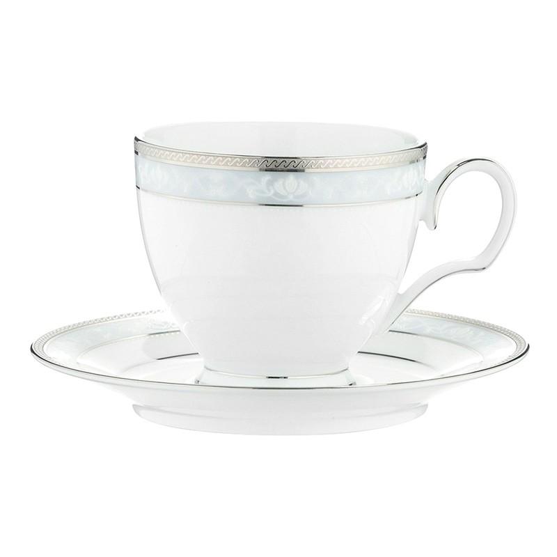 Noritake Hampshire Platinum Fine Porcelain Teacup & Saucer Set