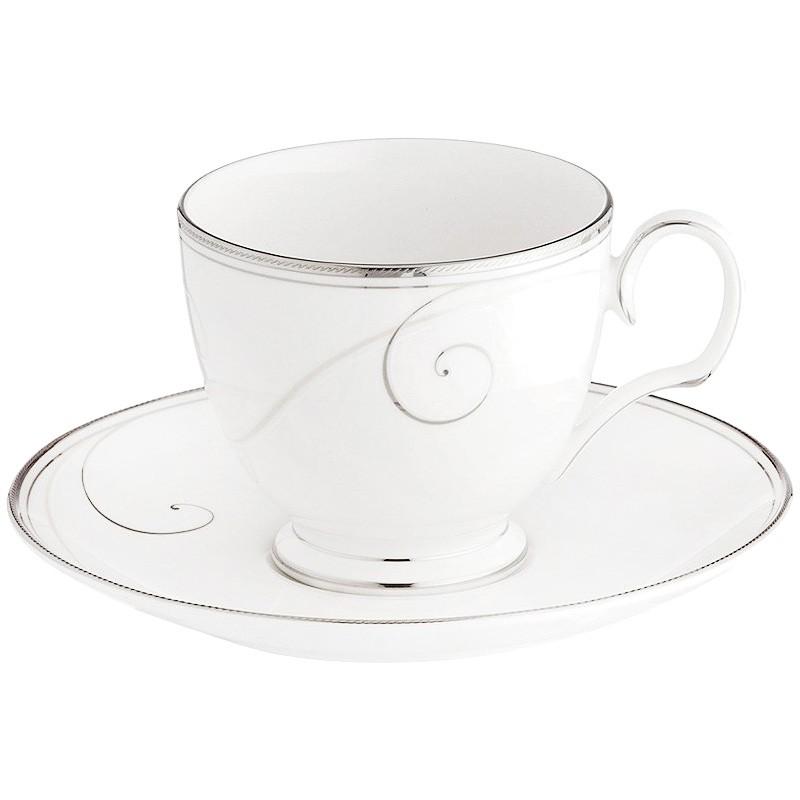 Noritake Platinum Wave Fine China Teacup and Saucer