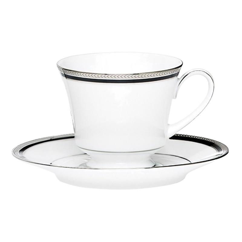 Noritake Toorak Noir Fine China Teacup and Saucer Set