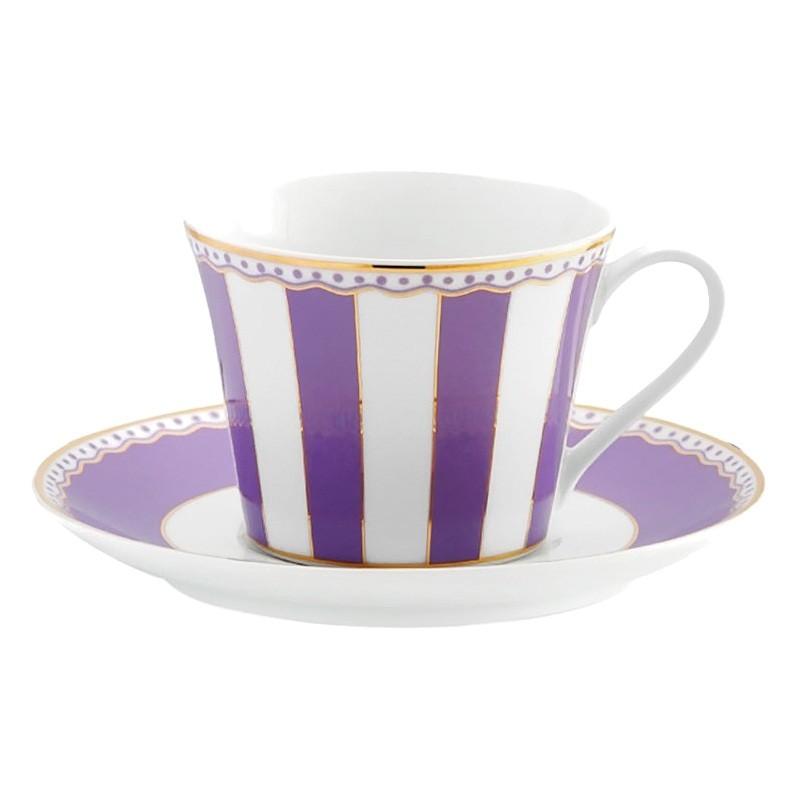 Noritake Carnivale Fine Porcelain Cup & Saucer Set, Lavender