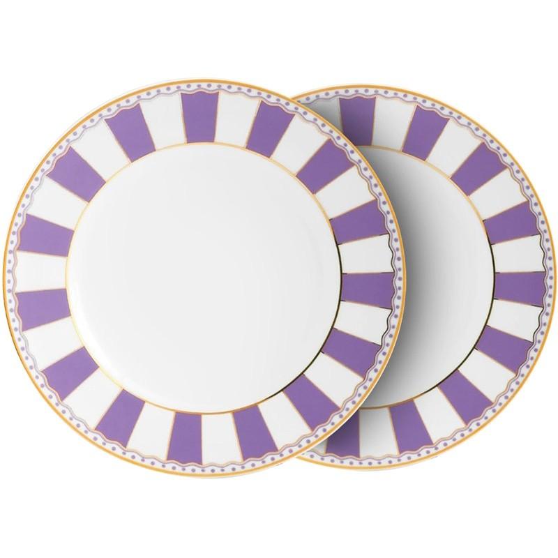 Noritake Carnivale Fine China Cake Plate, Large, Set of 2, Lavender