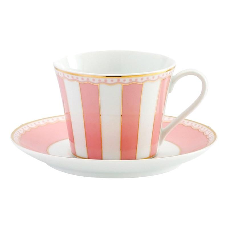 Noritake Carnivale Fine Porcelain Cup & Saucer Set, Pink