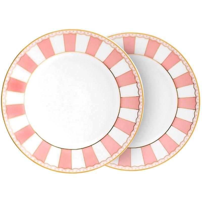 Noritake Carnivale Fine China Cake Plate, Large, Set of 2, Pink