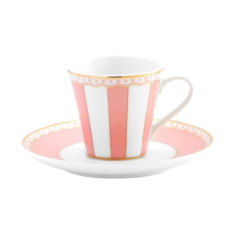 Noritake Carnivale Fine Porcelain Espresso Cup & Saucer Set, Pink
