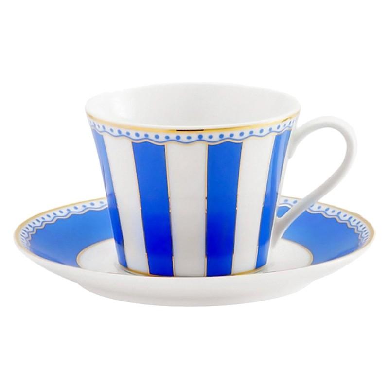 Noritake Carnivale Fine Porcelain Cup & Saucer Set, Dark Blue
