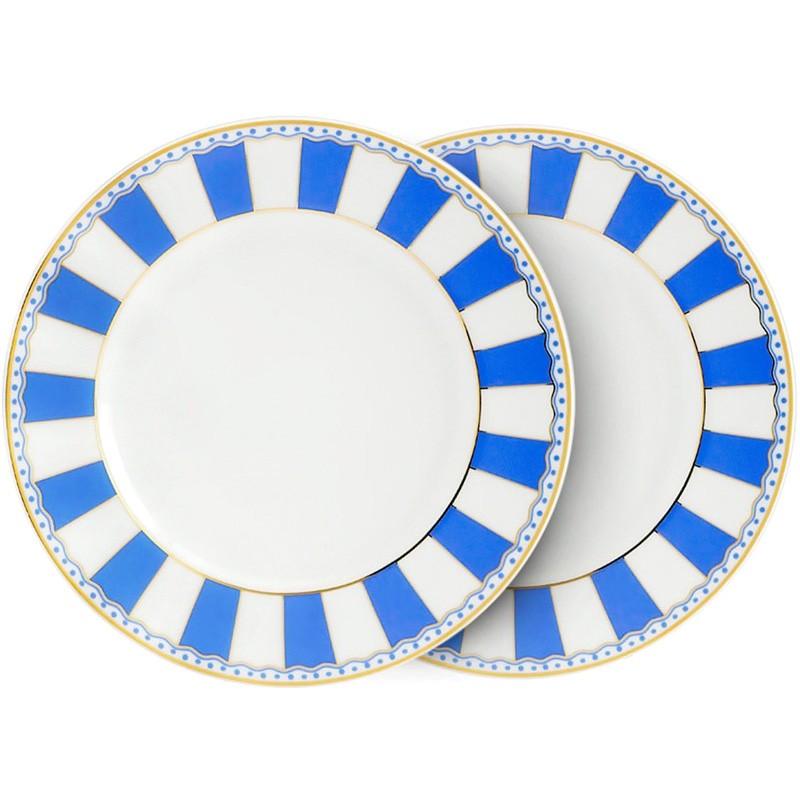 Noritake Carnivale Fine China Cake Plate, Large, Set of 2, Dark Blue