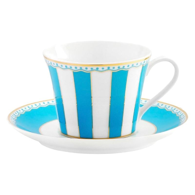 Noritake Carnivale Fine Porcelain Cup & Saucer Set, Light Blue