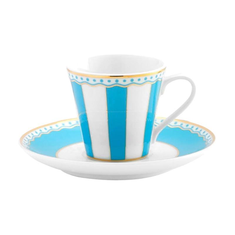 Noritake Carnivale Fine Porcelain Espresso Cup & Saucer Set, Light Blue