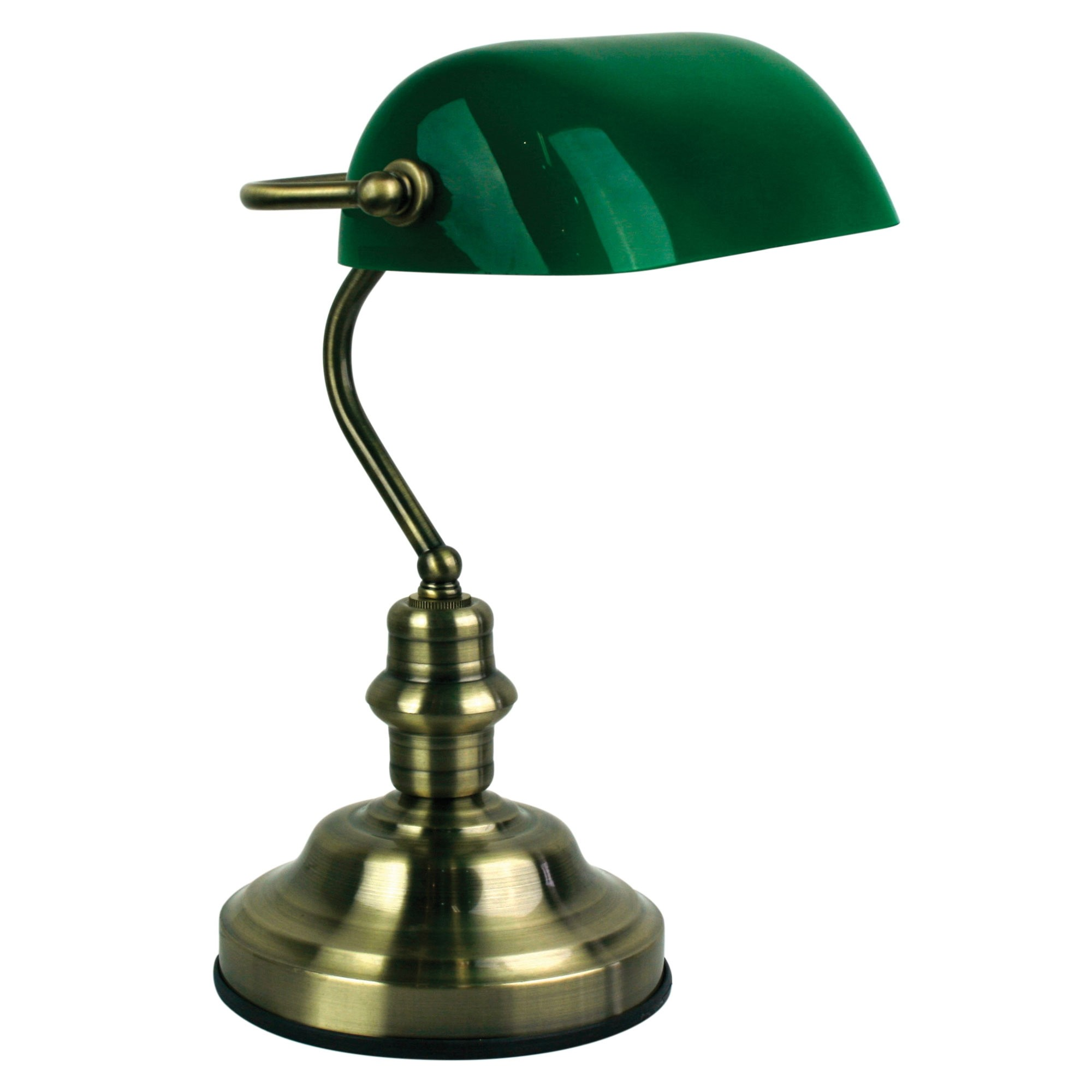 Bankers Metal & Glass Desk Lamp with Switch, Antique Brass