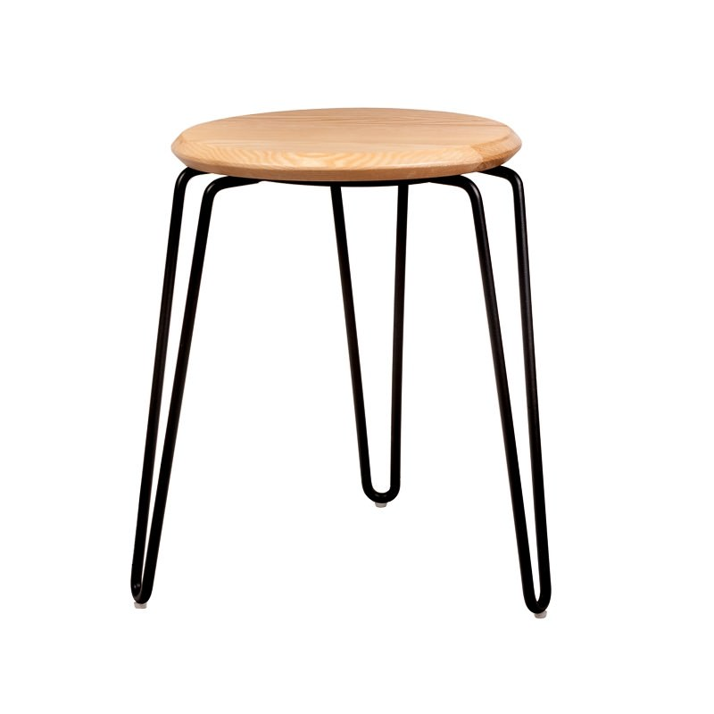 Storo Commercial Grade Steel Table Stool with Timber Seat, Natural