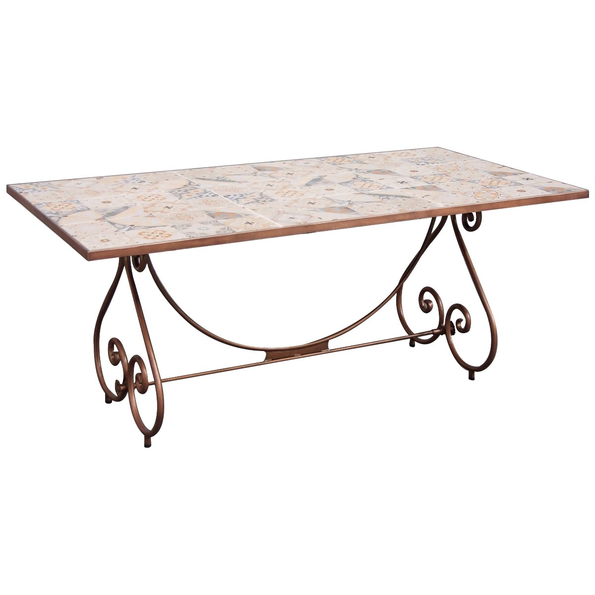 Joyeux Steel Dining Table with Mosaic Tile Top, 182cm